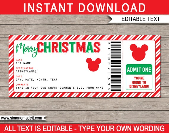 photo relating to You're Going to Disneyland Printable named Xmas Disneyland Holiday vacation - Printable Disney Ticket