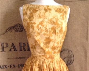 1950's mustard circle skirt cotton sleeveless top two piece
