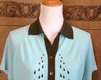 Talbott Traveler blouse,  short sleeved top, dacron