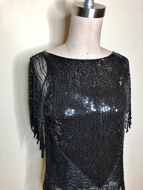 Black beaded top, Swee Lo beaded top, sequin blous
