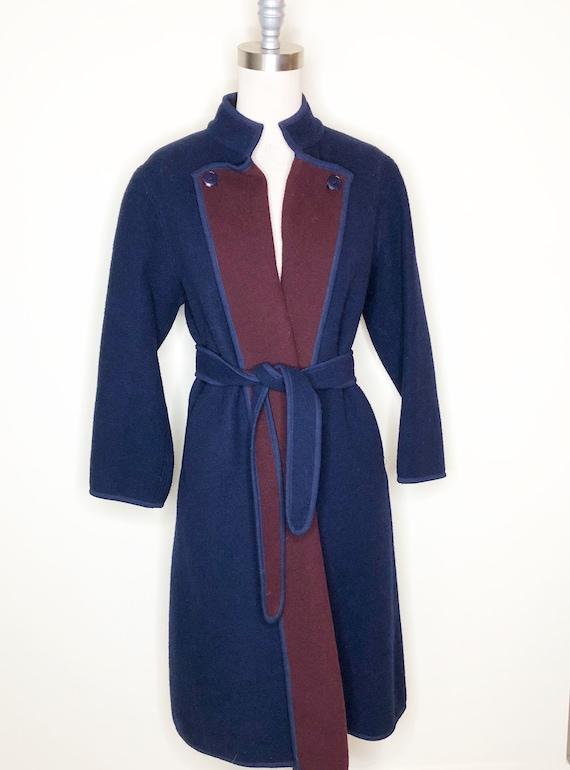 Navy blue coat, burgundy coat, wool, belted coat - image 1