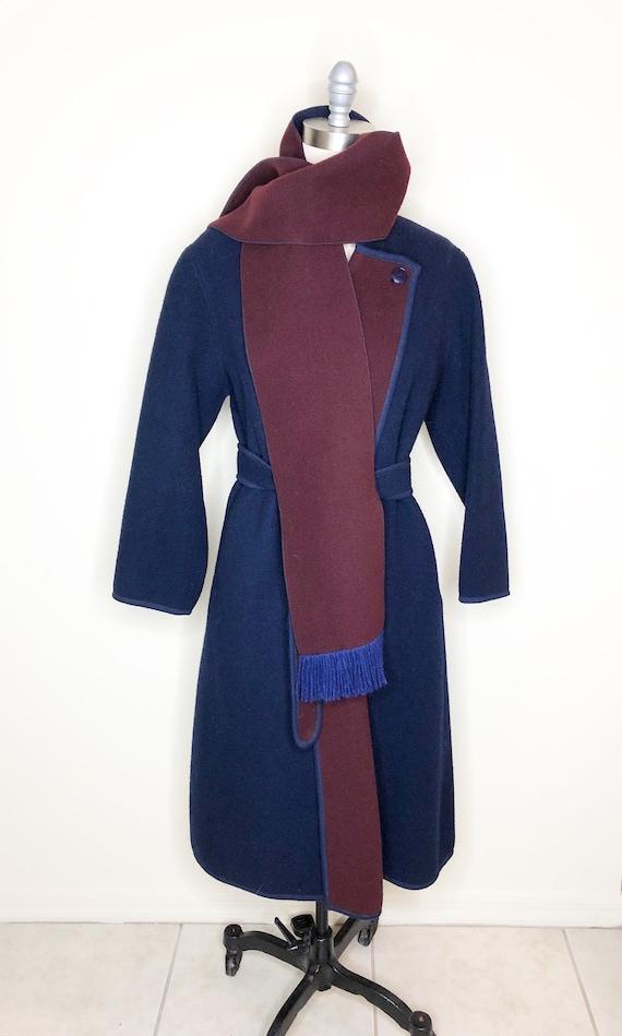 Navy blue coat, burgundy coat, wool, belted coat - image 5