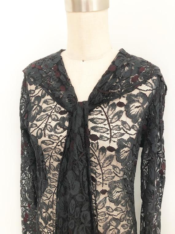 Vintage sheer lace overlay dress, black lace dress
