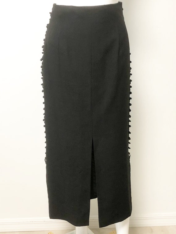 Vintage Mondi two piece set, black slit skirt, bo… - image 8