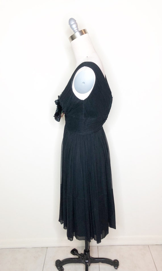 Chiffon party dress, black dress, 50's cocktail d… - image 3