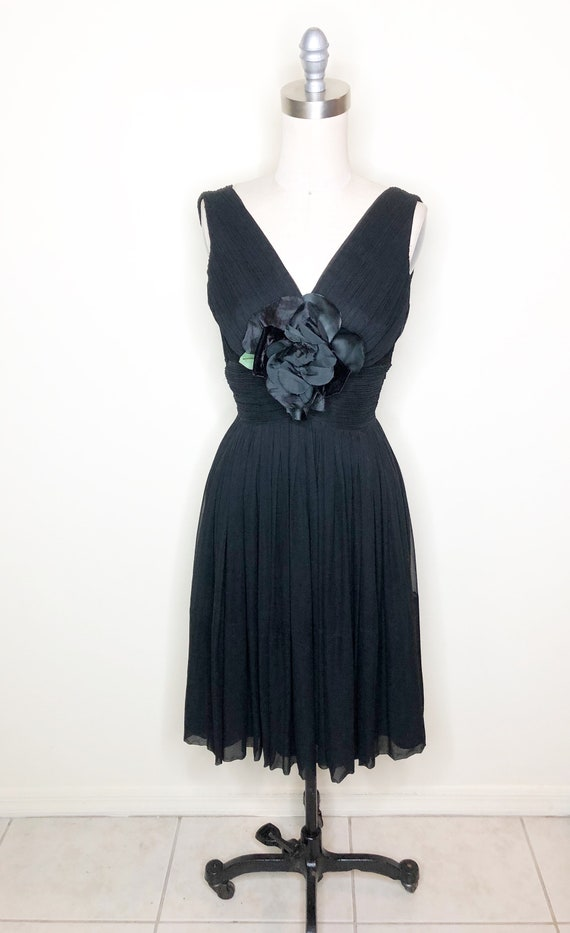 Chiffon party dress, black dress, 50's cocktail d… - image 2
