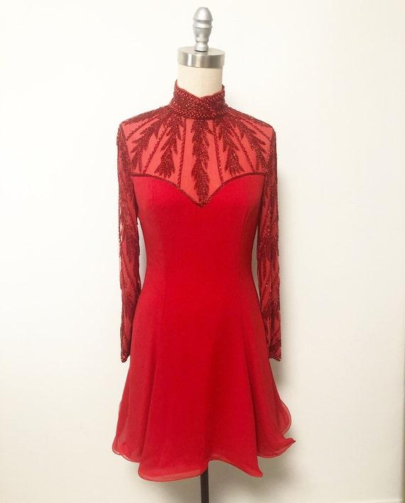 Vintage Lillie Rubin beaded red dress, skater dres