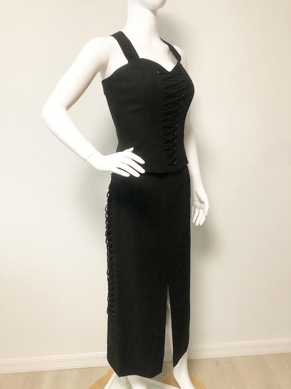 Vintage Mondi two piece set, black slit skirt, bo… - image 1