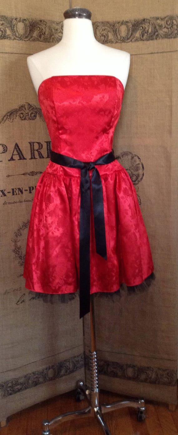 1980's Jessica McClintock, Gunne Sax, red dress