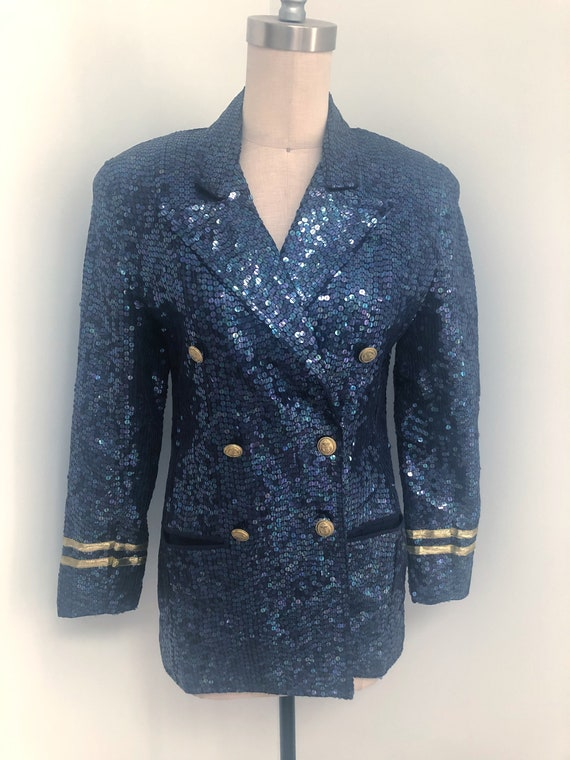 Vintage nautical beaded jacket, Lew Magram double
