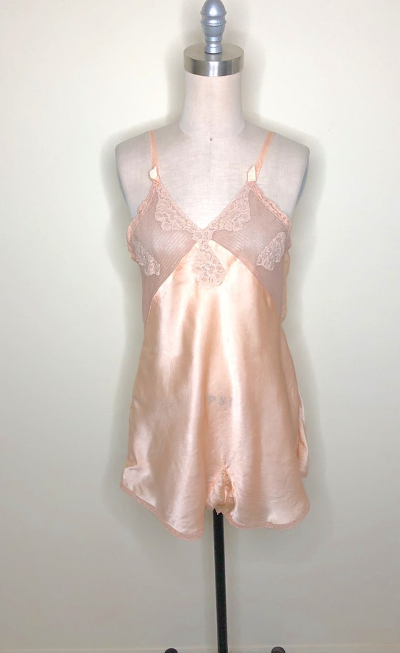 1940's Chemise, step in chemise, lace trimmed ling