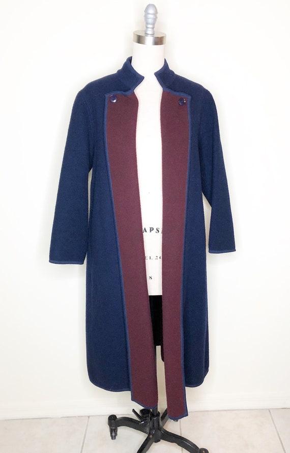 Navy blue coat, burgundy coat, wool, belted coat - image 2