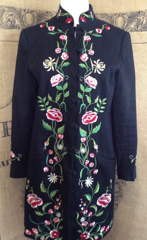 Victor Costa black duster, embroidered jacket