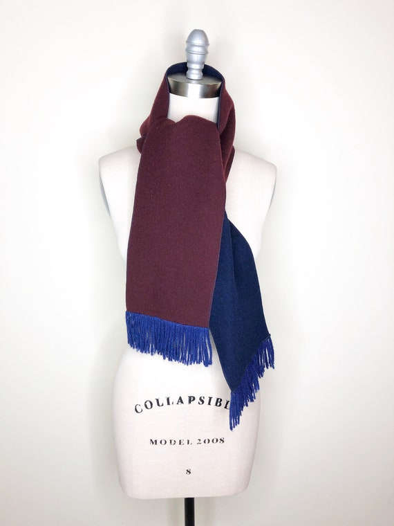 Navy blue coat, burgundy coat, wool, belted coat - image 4