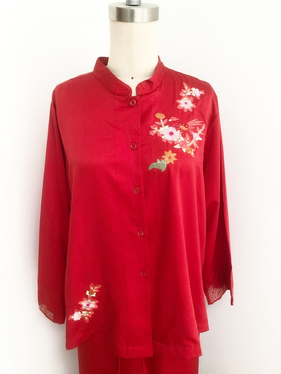 Vintage Natori Cruz pajamas, red pajama set, embro
