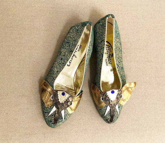 Vintage embossed metallic leather shoes, Albanese