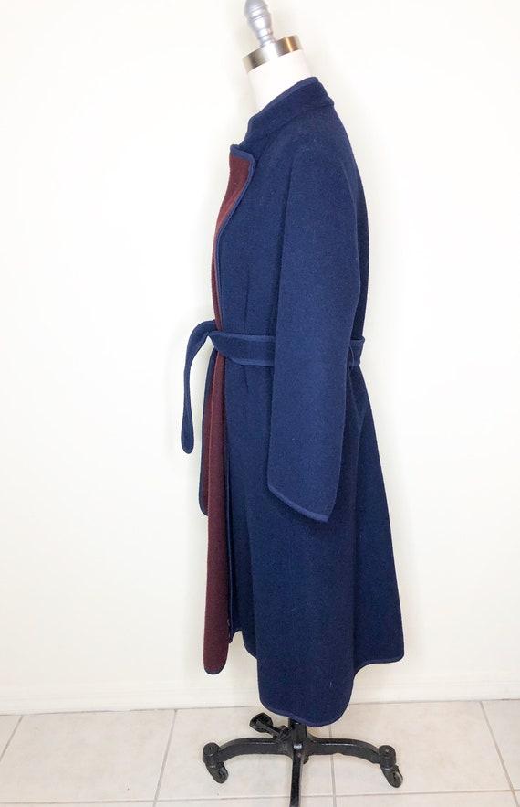 Navy blue coat, burgundy coat, wool, belted coat - image 6