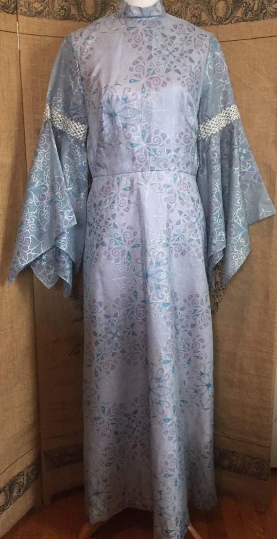 Alfred Shaheen maxi, bell, angel sleeve, butterfly