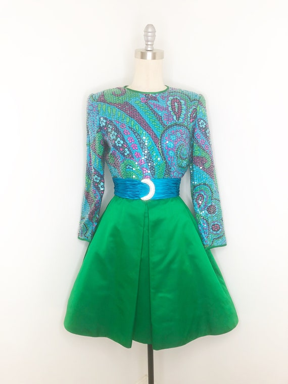 Vintage LianCarlo cocktail dress, psychedelic, seq