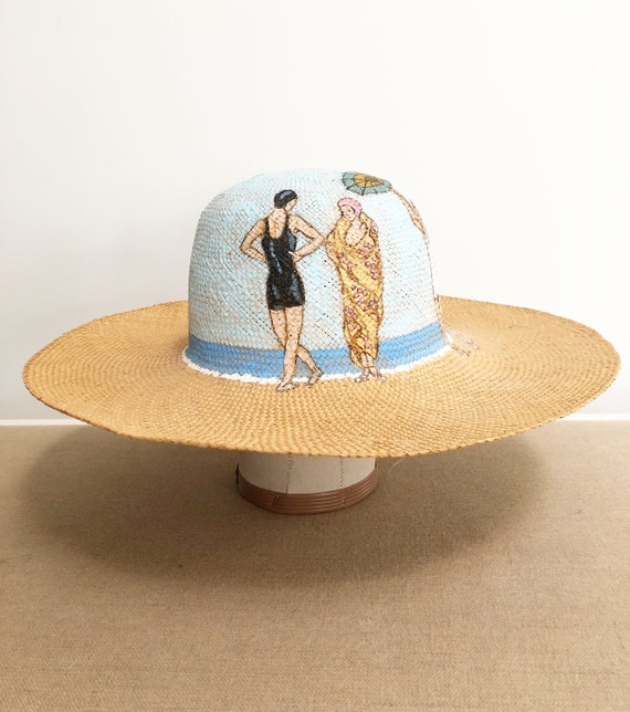 Vintage straw hat, beach hat, hand painted hat, vi
