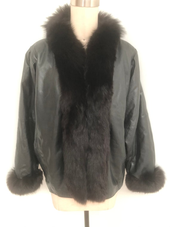 Vintage leather jacket, fox fur collar and cuffs,