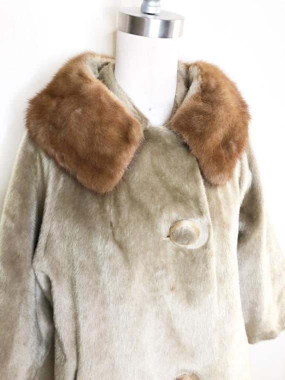 Vintage faux fur coat, mink collar, 50's coat, fur