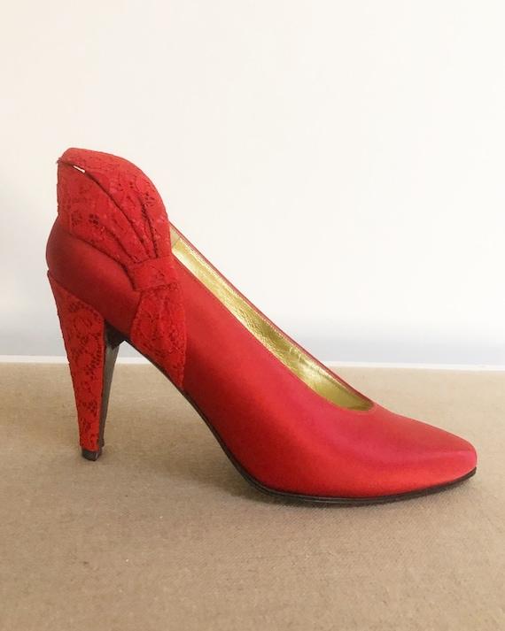 Vintage Charles Jordan pumps, lace shoes, red sati