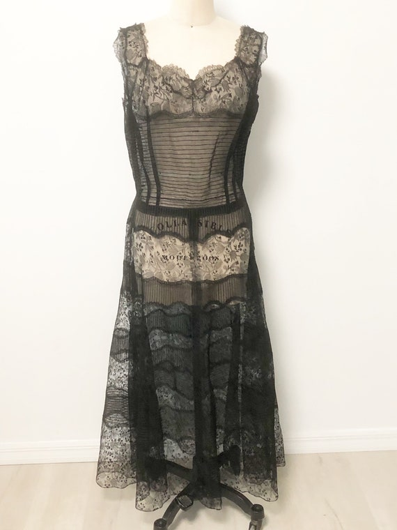 Vintage 1920's sheer lace dress, lace overlay dres