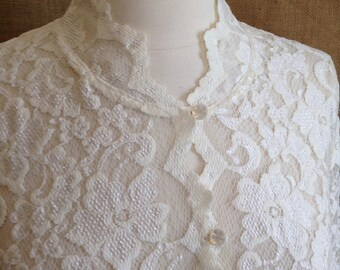 1980's Romantic lace Ribkoff blouse