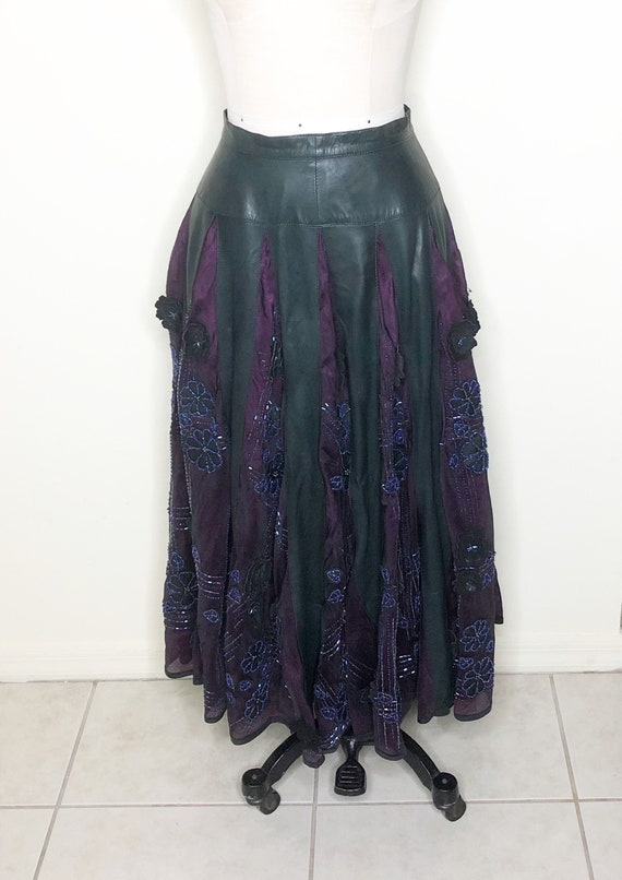 Leather and silk skirt, beaded skirt, appliqued sk
