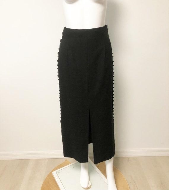 Vintage Mondi two piece set, black slit skirt, bo… - image 5