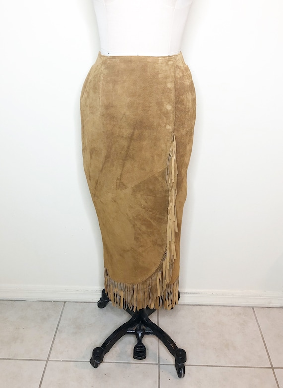 Suede wrap fringe skirt, cowgirl skirt, Lew Magram