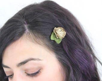Tan Flower Hair Pin - Bobby Pin Flower Clip - Updo Wedding Hair Accessories