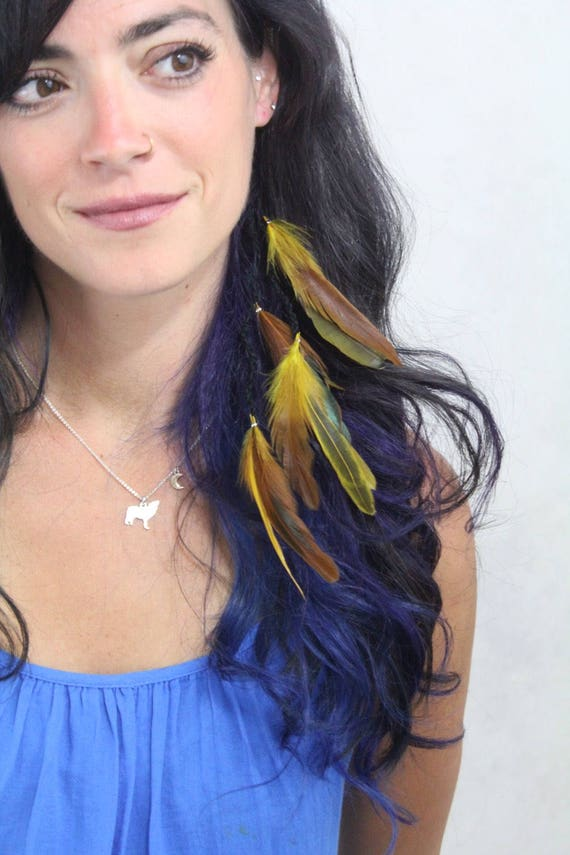 Yellow Feather Hair Extension Feather Extension Clip In Hair Feathers