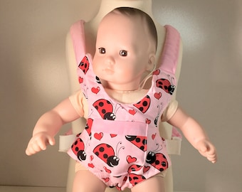 Doll size Carrier in Ladybugs in Pink and Red with Pink lining and straps