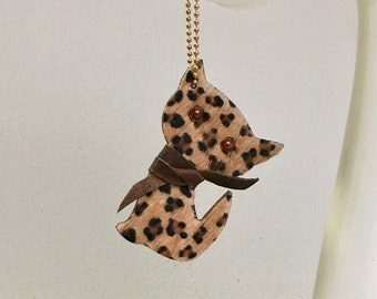 Leopard Cat keychain / leopard skin cat keyfob / brown Kitten bag charm in cow hair.  Gift for cat lovers.