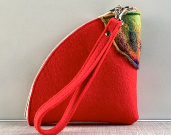 Wool felt purse / zipper wallet in red wool felt en green and blue embellishment. Eco friendly gift