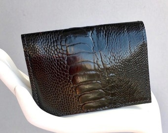 Card holder / wallet in black genuine ostrich (leg) leather and rust orange suede lining. Gift for men and women. OOAK ostrich wallet