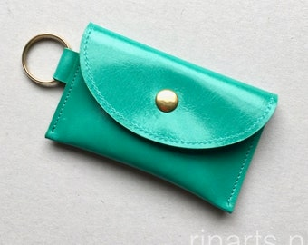 Slim wallet / coin case / Card holder / key case in sea green cow leather. wallet with two compartments. Gift under 25