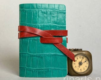 Leather travel journal / sketch book / leather notebook in green turquoise croco print leather and red leather strap.