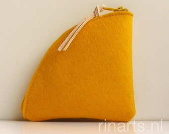 Wool felt  small purse / wallet in golden yellow wool felt. Eco friendly gift