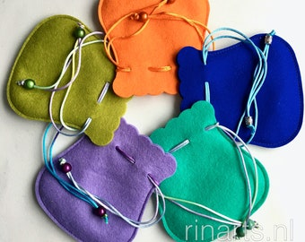 Drawstring pouch, gift bag in pure wool felt. Felt drawstring bag in in purple,  yellow, green, orange and aqua green