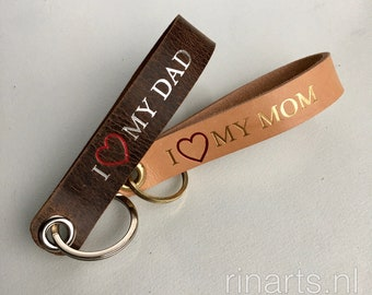 Leather keychain with hand embossed text.  Love my MOM, Love my DAD. Personalised Lanyard