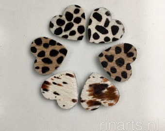 """Cow hair leather hearts 3.5x3.5 cm ( 1.4 x 1.4 """") for your DIY projects. Set of 50 pieces in spotted, leopard and cheetah cow hair"""