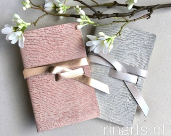 Notebooks / travel journals in silver or pink printed leather.  Leather diary. Personalised gift