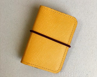 Cardholder in yellow Italian Saffiano leather. Super slim card wallet. Minimalist yellow card case. gift under 25