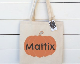 Kids Halloween bag Personalized Trick or Treat bag Canvas tote bag Halloween Tote Reusable canvas tote bag