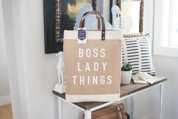 Boss Lady Jute BagBeach BagMarket ToteGift for HerMarket