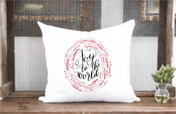 Christmas Pillow Cover Holiday Pillow Cover Joy To The World Etsy