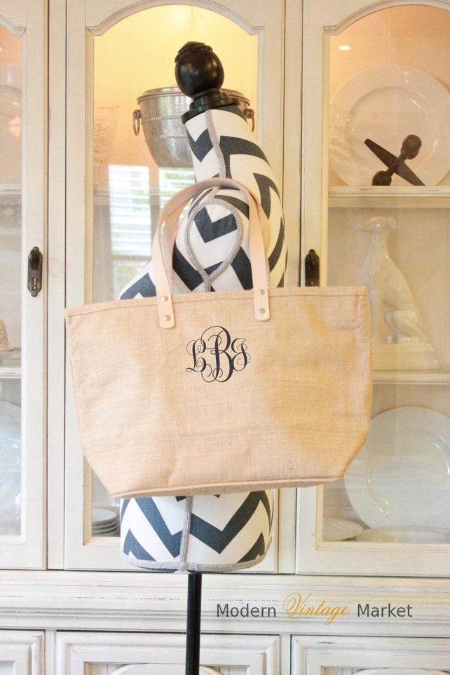 Monogram Tote, Monogrammed Bag, Custom Tote, Bridesmaid Bag, Purse,Burlap,Wedding bags, Bridesmaids,Totes,Modern Vintage Market